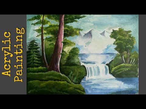 Simple acryllic painting for beginners | landsacape scenery paiting