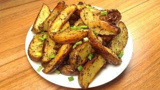 Картофель по-деревенски. Картошка, запеченная в духовке. Очень вкусно!