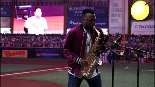 Saxophonist BK Jackson kicks off Tampa Bay Rays' playoff game with beautiful National Anthem