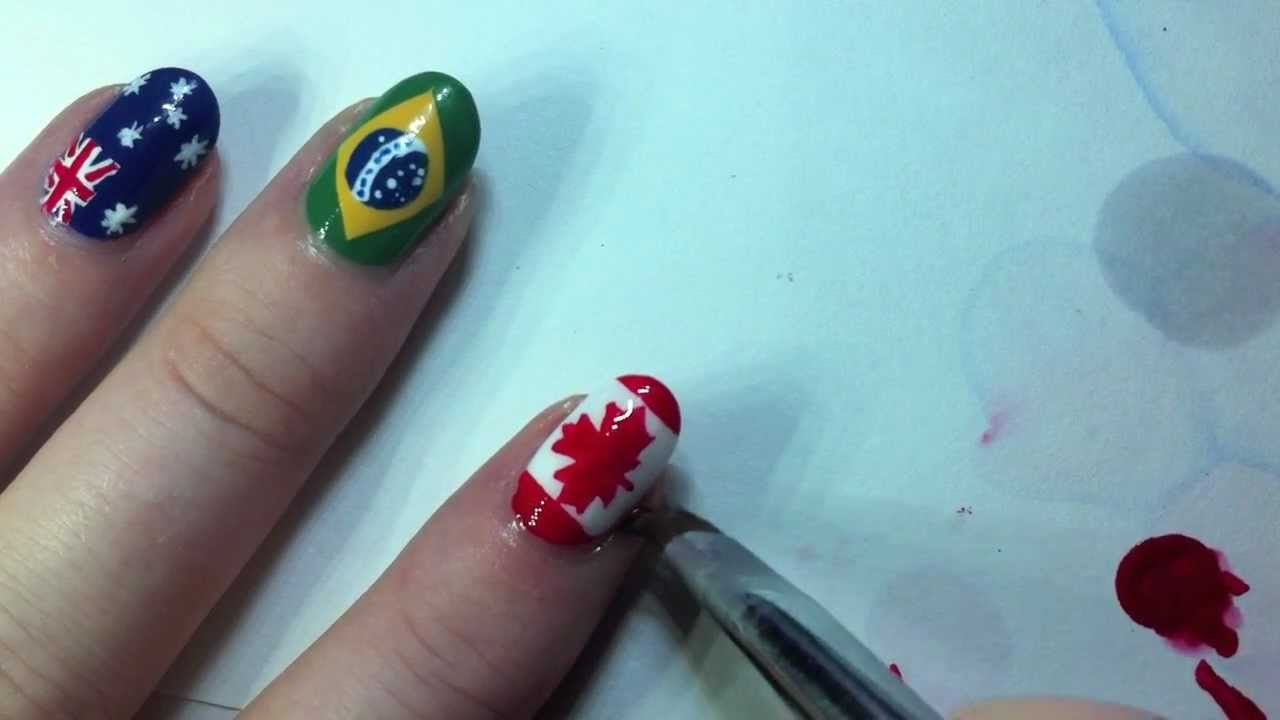 Canadian Flag Nail Art Tutorial - YouTube