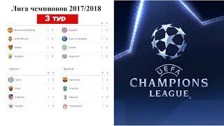 Футбол Лига Чемпионов 2017/2018. Результаты 3 тура в группах A. B. C. D. Расписание