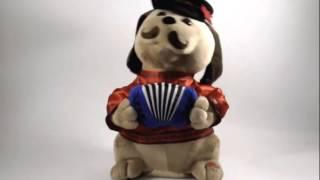 Игрушка Собака Ловелас с гармошкой и усами, танцует и поет на русском