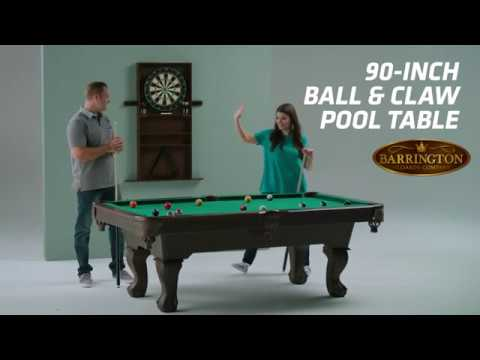 Barrington Inch Ball And Claw Pool Table With Full Sized Cue Rack - Pool table cabinet