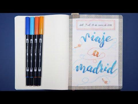 ideas-para-el-diario-de-viaje-#1-:-madrid-⭐-portada-con-lettering-⭐-rotuladores-tombow