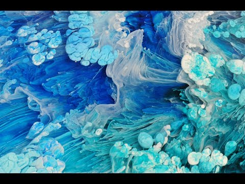 """Ocean Tones//Large 9"""" x 9"""" Petri Style Alcohol Inks on Resin"""