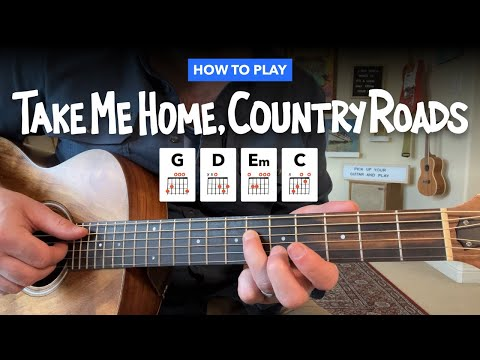 🎸 Take Me Home, Country Roads • Easy guitar lesson w/ chords (John Denver)