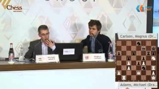 Magnus Carlsen and Michael Adams discuss their game - Shamkir Chess Tournament 2015