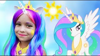 София как Принцесса , Kids Makeup Sofia DRESS UP Princess Celestia My Little Pony and Plays Dolls