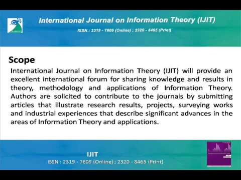 International Journal on Information Theory (IJIT)