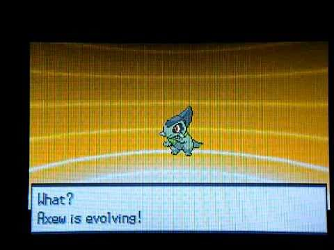 Pokemon B&W Axew Evolve into Fraxure (Lv. 38) - YouTube