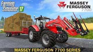 "[""Farming Simulator 17"", ""MASSEY FERGUSON"", ""7700 SERIES"", ""MASSEY FERGUSON TRACTOR"", ""mf 7726"", ""Red tractor"", ""MORE REALISTIC"", ""Tractor with a trailer"", ""Bale handling"", ""Bales of straw"", ""American tractor"", ""US tractor"", ""new"", ""fs 2017"", ""ls 17"", ""La"