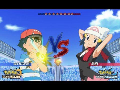 Pokemon Battle USUM: Alola Ash Vs Dawn (Pokémon Alola Vs Sinnoh)