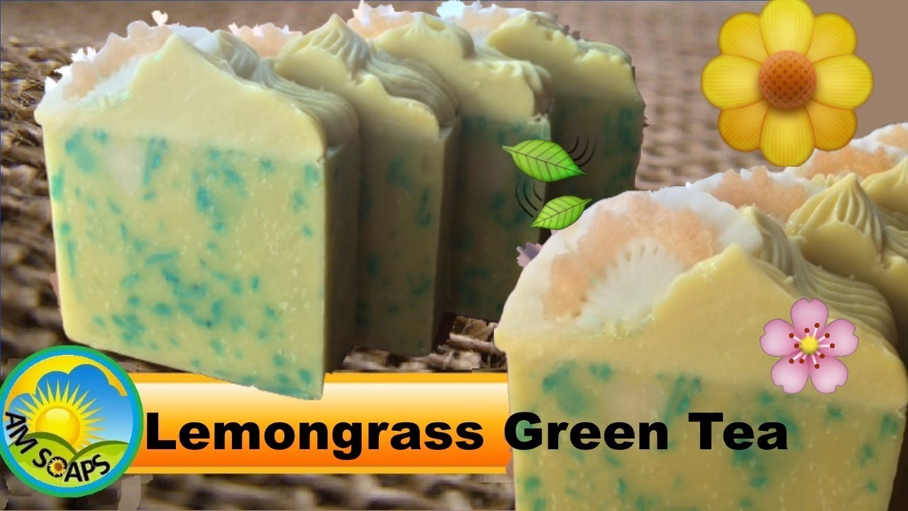 Lemongrass Green Tea Cold Process Soap - making and cutting