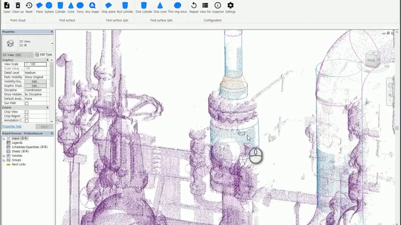 Revit plugin source code utilizing FindSurface 2018 - Laser