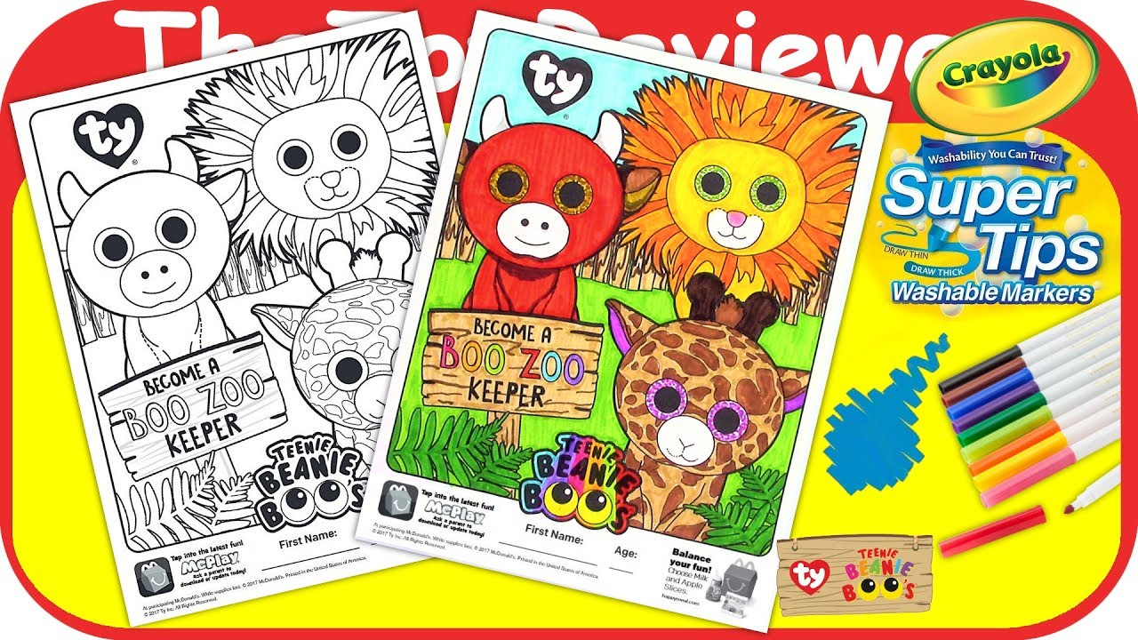 mcdonalds happy meal teenie beanie boos coloring page crayola unboxing toy review thetoyreviewer
