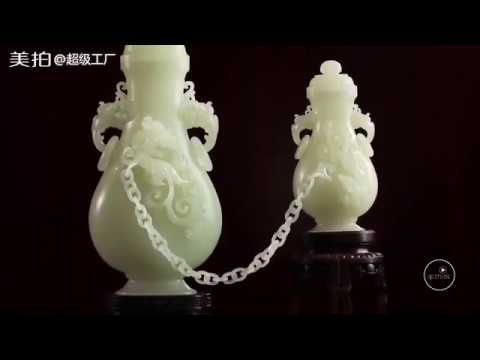 Exquisite Jade Bottle & Teapot Ornament Carving by Master Carver