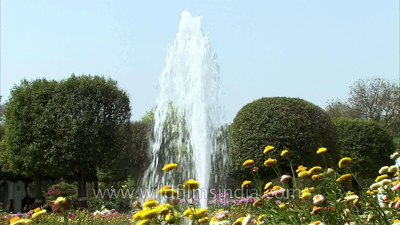 High Fountain And Beautiful Flowers At The President Estate Mughal Garden