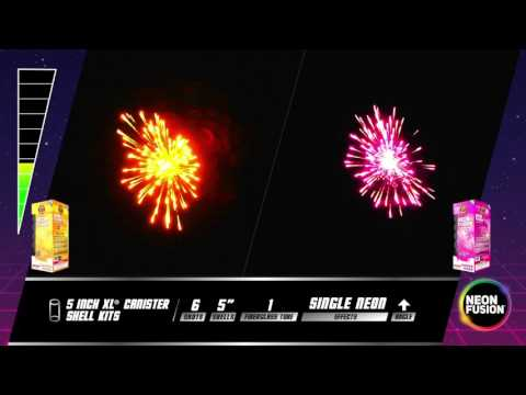Neon Fusion 5 Inch XL Canister Shell Kits Fireworks R-4232