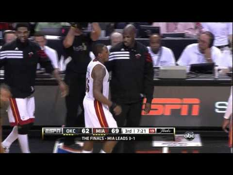 TheBigLead - Kevin Durant and Mario Chalmers getting a little chippy - Game 5 2012 Finals