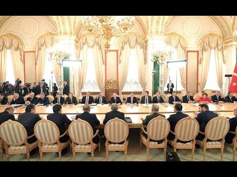 Vladimir Putin with President of Turkey Recep Tayyip Erdogan.  Joint news conference.