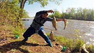 PESCANDO en el rió mojarras con lombriz - Pesca con Anzuelo