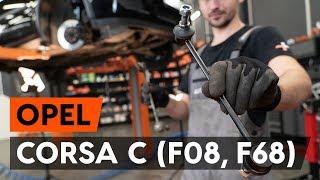 Hoe Stabilisatorkoppelstang vervangen OPEL CORSA C (F08, F68) - gratis instructievideo