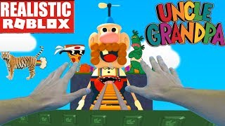 REALISTIC ROBLOX - STEVE GOES TO UNCLE GRANDPA'S ROLLER COASTER IN ROBLOX