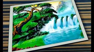 Cara Melukis Simple Acrylic Painting Tutorial for Beginners Air Terjun