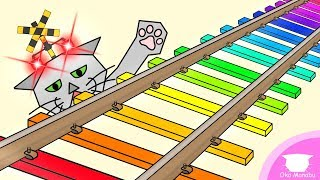【ふみきり 電車 アニメ】こんな枕木はイヤだ!【Railroad crossing Trains】What a crosstie!