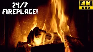 Relaxing Fireplace   Instrumental Christmas Music 24/7 🎄