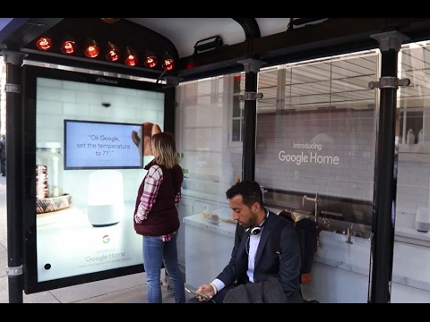 google home turns bus shelters into a smart home jcdecaux north america youtube. Black Bedroom Furniture Sets. Home Design Ideas