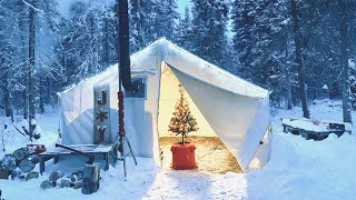 -33C WINTER CAMPING iฑ a CHRISTMAS HOT TENT