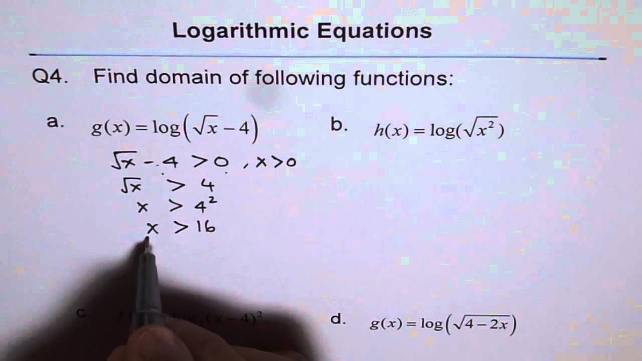 Find domain of logarithmic radical function q4 youtube find domain of logarithmic radical function q4 ccuart Image collections
