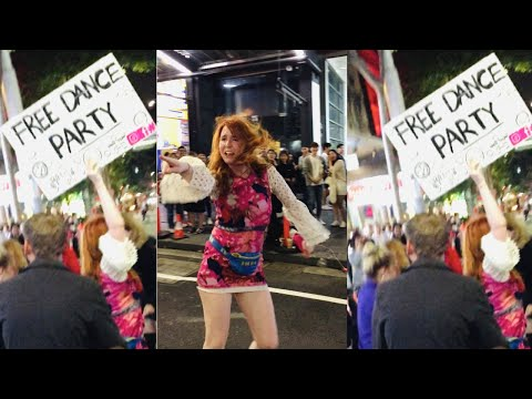 one girls starts a dance party on the street in Sydney - FREE DANCE PARTY