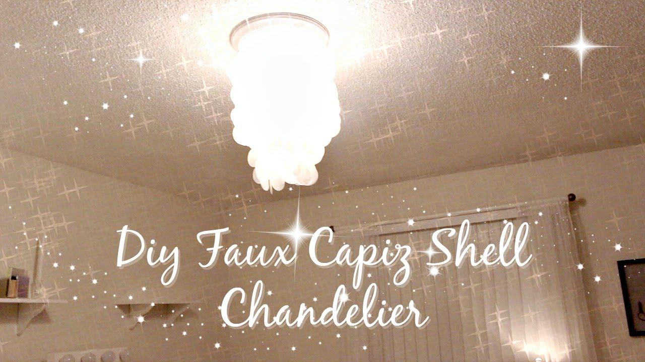 Diy faux capiz shell chandelier youtube diy faux capiz shell chandelier aloadofball Images