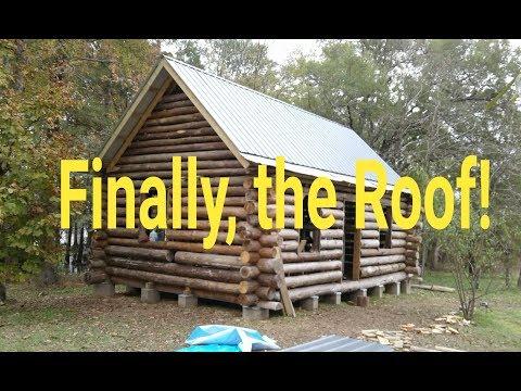 OFF GRID LOG CABIN BUILD #16 How I Install Metal Roof Panels