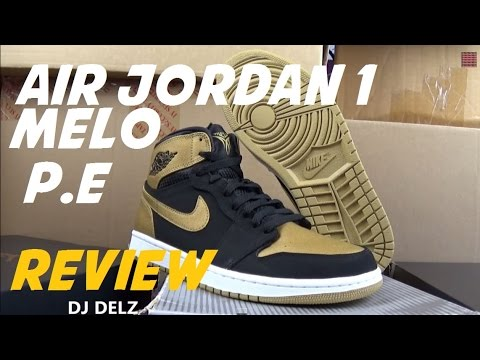 Air Jordan 1 Retro High Carmelo Anthony PE Melo Black Gold Sneaker Review  With  DjDelz d1ecaee30