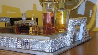 Diy/Dollar Tree/Glam/Mirror/Perfume/Display/ Tray/Diy'er on the Go series/Decoraciones para el Hogar