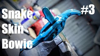 Forging A Big Knife From Ball Bearings: FINISHING The Snake Skin BOWIE!! Blacksmithing, Knifemaking
