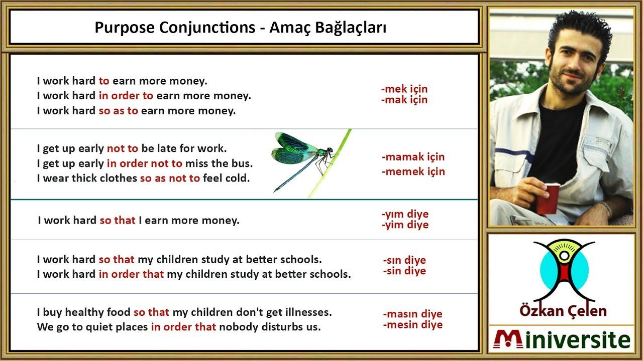 17. Purpose Conjunctions - Amaç Bağlaçları