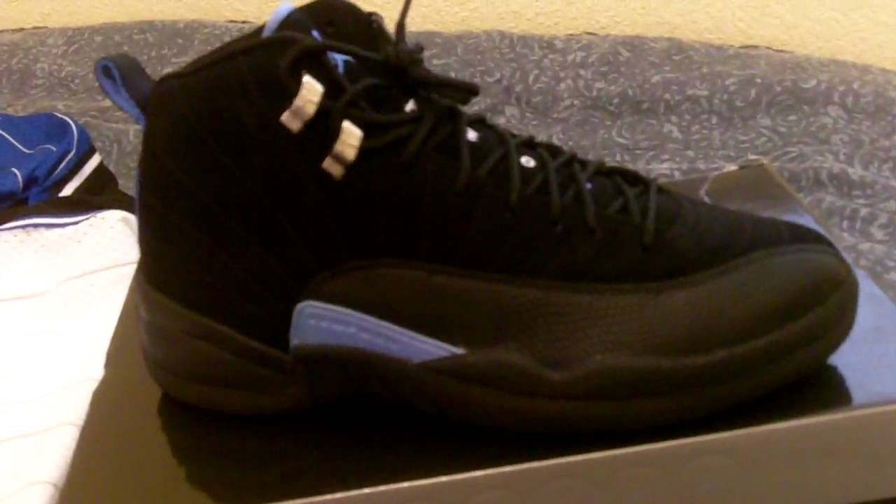 4f429cb2f883 air jordan xii retro 12 nubuck black and carolina blue - YouTube