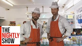 Ross Marquand And Tom Payne from The Walking Dead Promote Rossiters Butchers | TNS Online Exclusive