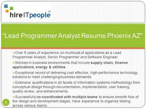 Lead Programmer Analyst Resume Phoenix AZ
