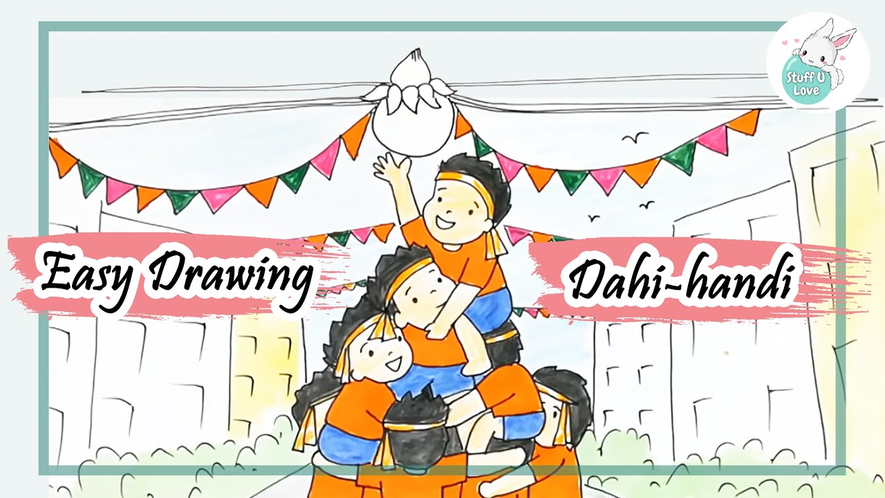 Easy dahi handi drawing for kids