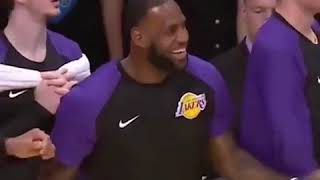 Lebron James Laughing Hysterically at Ingrams Funny Inbound Defense