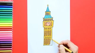 How to draw and color the Big Ben, London