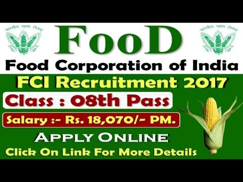 Food Corporation of India Recruitment 2017 | 8 - 10th pass Govt Jobs 2018 | All Over India jobs