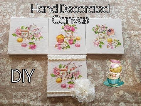 DIY Decorated Canvas - Elegant easy craft  - Decoupage - Farmhouse - Shabby Chic