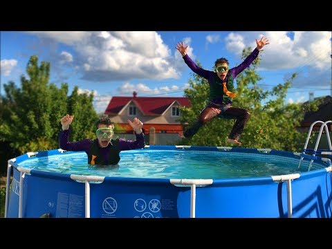 Biker Mr. Joe On Motorcycle Dived Into Pool W/ Funny Games In Pool For Kids