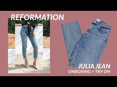 REFORMATION Julia Jean Unboxing + Try On | JULIA SUH